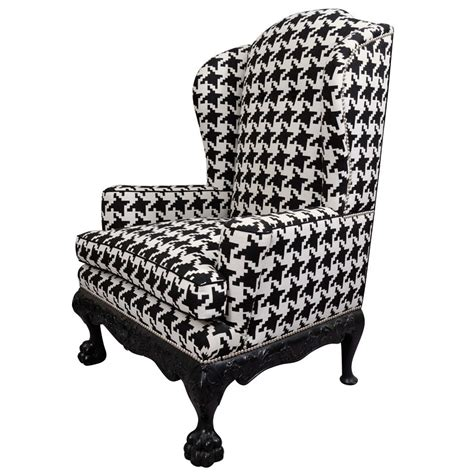 Houndstooth Chair by And Claw Wing Chair In Houndstooth With