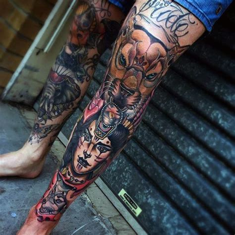 leg sleeve tattoo ideas 80 shin tattoos for masculine lower leg design ideas