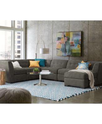 macy s roxanne sectional roxanne fabric 6 piece modular sectional sofa corner unit