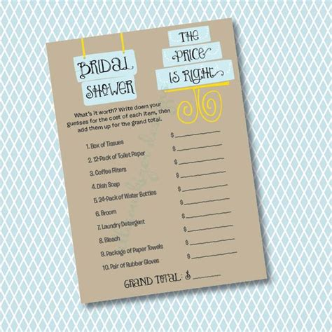 price is right bridal shower template the price is right bridal shower modern cake printable