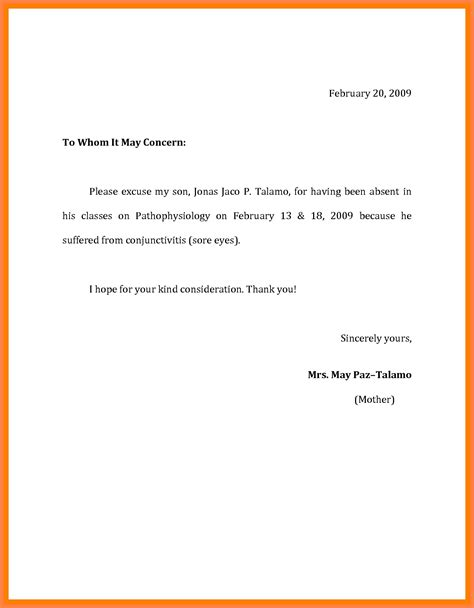 school sick leave letter template sample refference