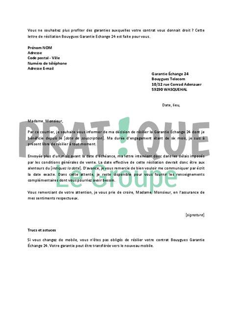 Resiliation Lettre Bouygues Lettre De R 233 Siliation Garantie 201 Change 24 Pratique Fr
