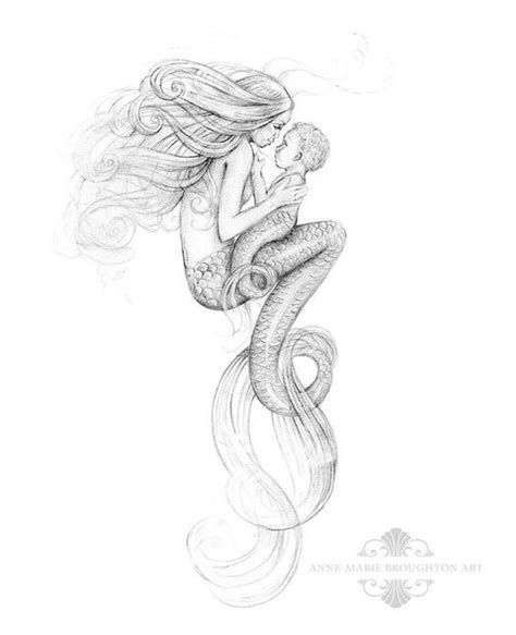 8x10 inch print mother mermaid and mer baby art graphite