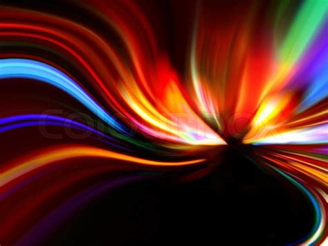 flash reproduce picture on black background with soft abstract colorful design on a black background stock