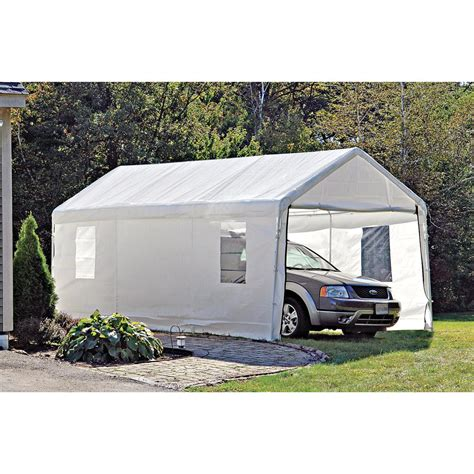 Car Awning Shelter by Shelterlogic Portable Garage Canopy Carport 10 X 20 117083 Garage Car Shelters At
