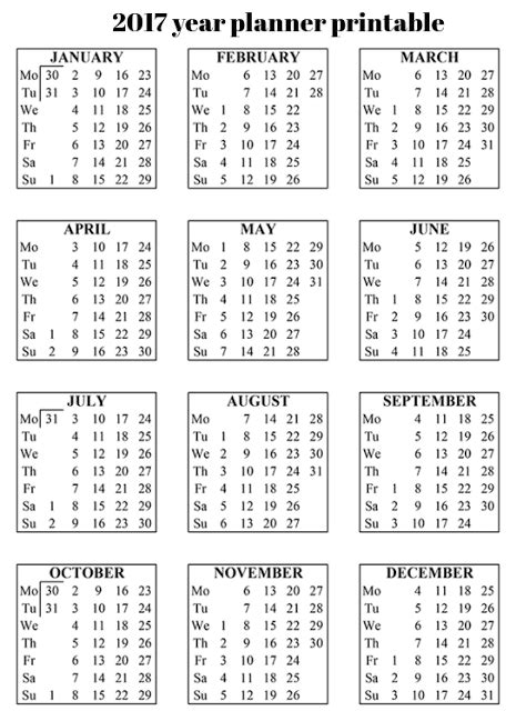 Year Planner Calendar 2017