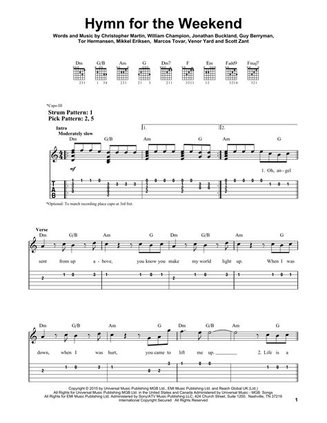 coldplay hymn for the weekend lyrics coldplay hymn for the weekend sheet music