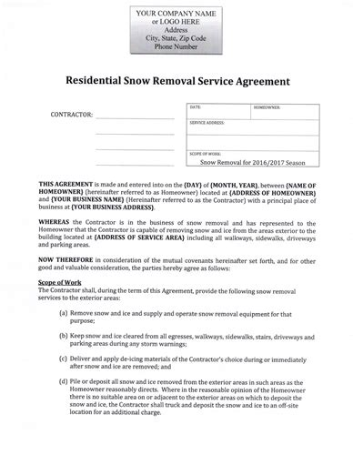 snow plow hourly rate residential agreement 12 99