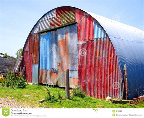metal shed  mismatched paint stock photo image