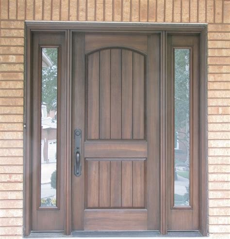 Exterior Entry Doors With Glass Walnut Front Entry Doors With Two Panel Arched Top Also Glass Side Lights And Black