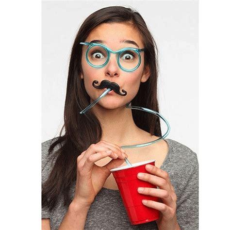 mustache straw glasses