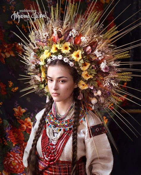 Traditional Modern Women Wearing Traditional Ukrainian Crowns Give New