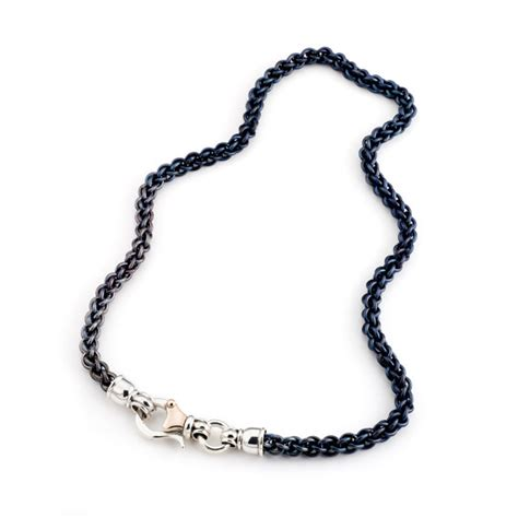 Handmade Chain - handmade chain titanium link with silver clasp and by
