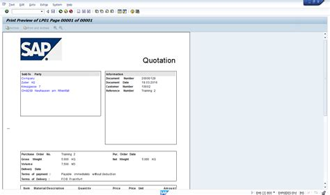 Sap Quotation Layout | sales quotation free online sap sd training