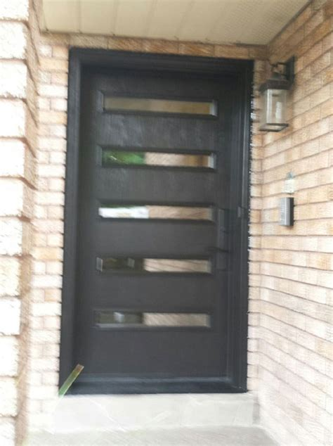 fiberglass modern single door with 5 doors lites