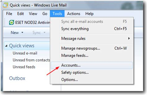 configure gmail account in windows live mail