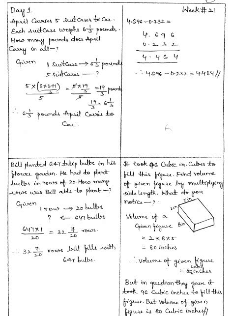 Math 4 Today Grade 5 Worksheets by Common Math 4 Today Grade 5 Solutions Week 21
