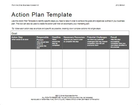 31 action plan templates free excel word exles