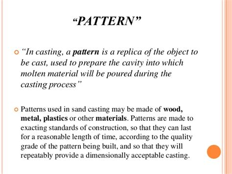loose piece pattern in casting casting and its types