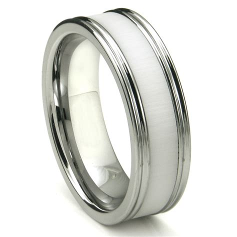 tungsten carbide white ceramic inlay wedding band ring w