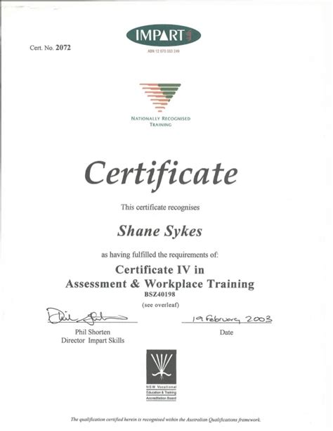 design certificate iv certificate iv in assessment and workplace training