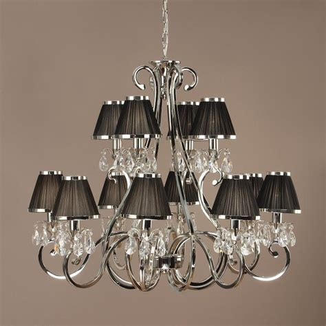 Chandeliers With Black Shades Interiors 1900 Oksana 63507 12 Light Nickel Chandelier With Black Shades Luxury Lighting