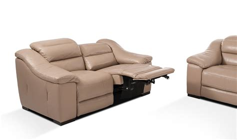 Modern Reclining Sofas Camellia Modern Power Reclining Leather Taupe Sofa Set