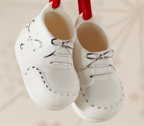 baby bootie ornament ceramic baby booties ornament pottery barn
