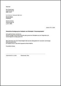 Musterbrief Einschreiben Schweiz K 252 Ndigung F 252 R Parkplatz Kostenlos Als Pdf Erstellen