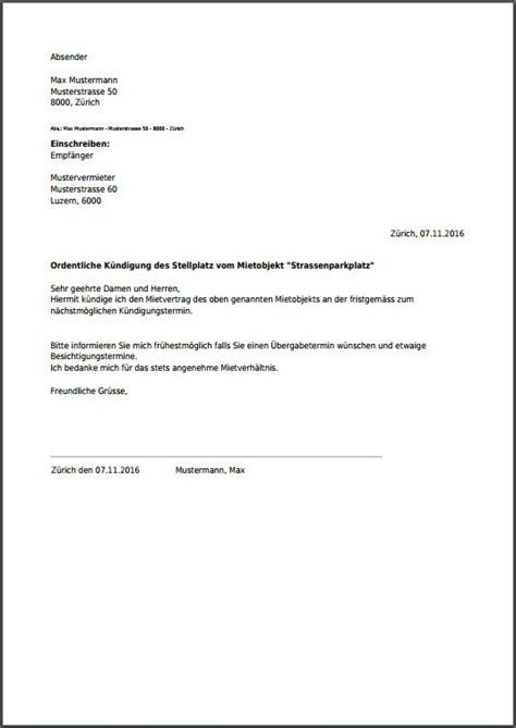Schweiz Brief Einschreiben k 252 ndigung f 252 r parkplatz kostenlos als pdf erstellen