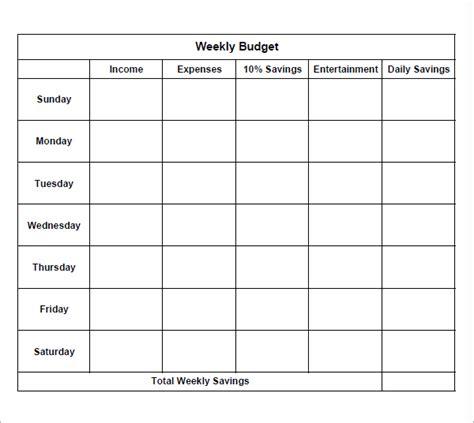 simple weekly budget paper template sle printable