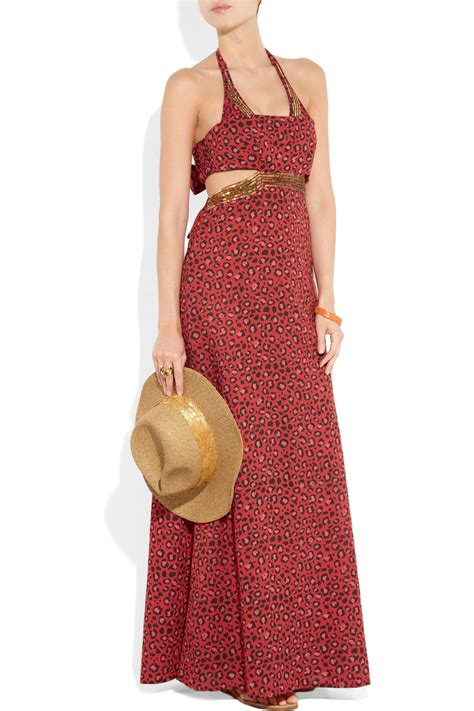 Maxi Dress Trendy 2017 Maxi Leopard lyst tara matthews rapture embellished leopard print cotton maxi dress in