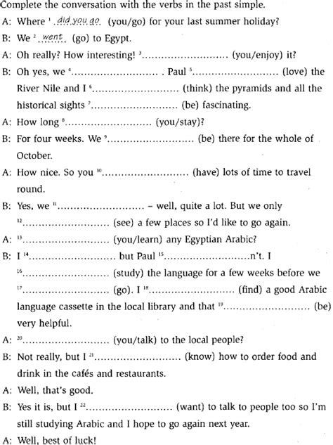 preguntas con simple past simple past negative and question form leccion 16b
