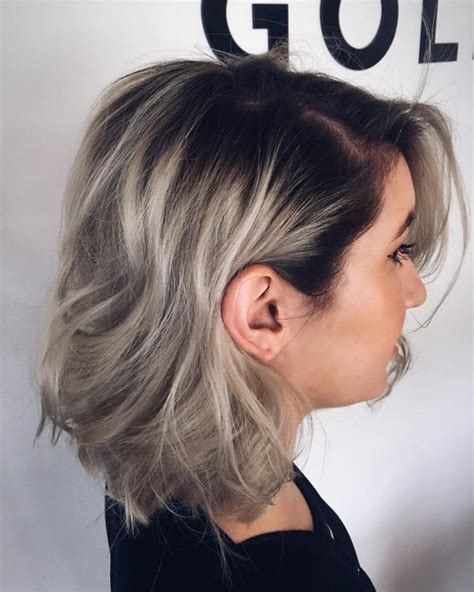 blonde bobs with dark roots dazzling silver ombre for 2017 new hair color ideas