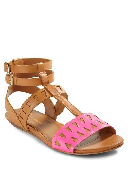 Sandal Wedges Laser Pink minkoff barb laser cut gladiator sandals in pink