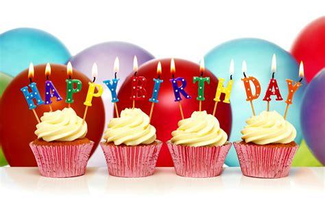 Happy birthday cupcake birthday candles balls cupcakes hd wallpaper