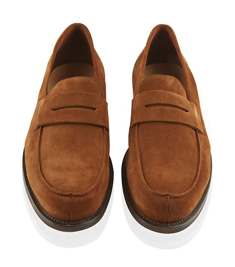 lobb loafers lobb cus 12 suede loafer in brown for lyst