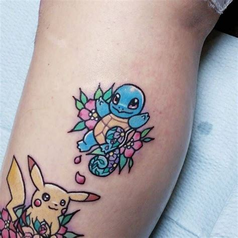 squirtle tattoo kawaii style squirtle on the calf artista tatuador