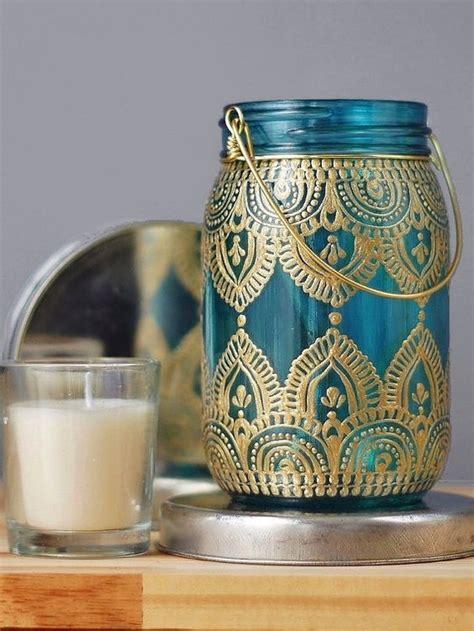 kerzenhalter vase quot zigeuner quot decor einmachglas kerzenhalter t 252 rkisfarbenem