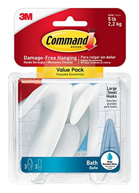 command strip bathroom command bath17 3es large towel hooks value pack 3 hooks