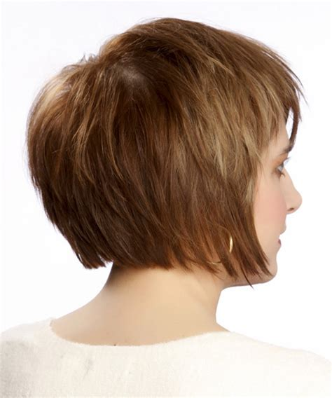 short straight casual hairstyle medium brunette caramel side medium straight casual hairstyle with side swept bangs