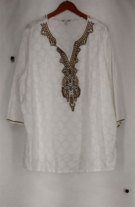 Charter Club Plus Size Top 3x Beaded Tunic White New 2nd