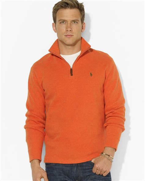Sweater Polos ralph polo frenchrib halfzip mockneck pullover sweater in orange for lyst
