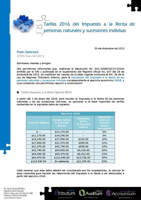 tarifa impuesto renta 2016 tarifas impuesto a la renta 2016 personas naturales ene15