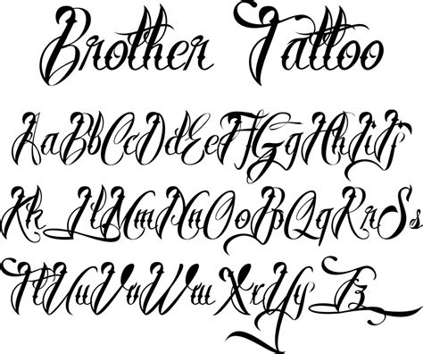 tattoo script alphabet fonts names tattoo lettering styles brother tattoofont by m 229 ns