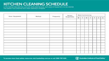 kitchen equipment cleaning schedule