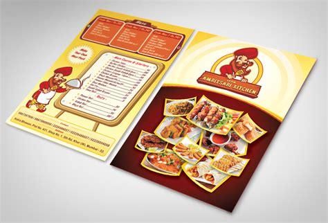 leaflet design for restaurant logo mascot design ekam amritsari kitchen restaurant on