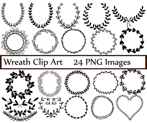 Laurel Wedding Clipart by Wreath Clip Digital Wreath Laurel Wreath Clipart
