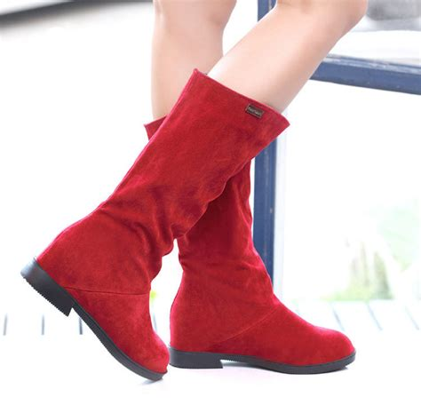 3 colors top brand knee high boots vintage flats