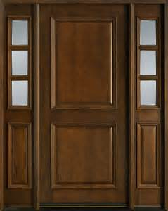 Two Front Doors Entry Door In Stock Single With 2 Sidelites Solid Wood With Walnut Finish Classic Series
